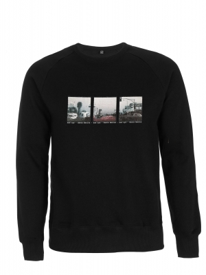 Organic cotton sweatshirt with a vintage image of Santa Monica